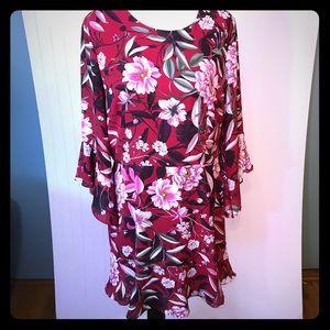bar III Drop Waist Flirty Floral Dress Sz 14